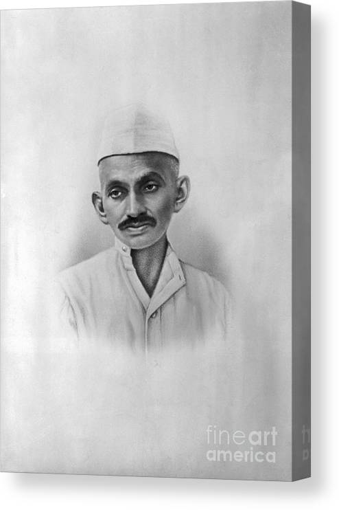 People Canvas Print featuring the photograph Portrait Of Mahatma Gandhi by Bettmann