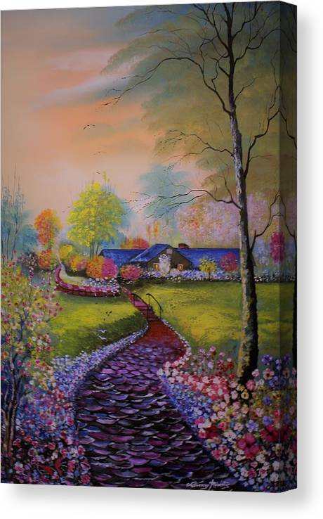 Landscape Canvas Print featuring the painting Red Walk by Lorenzo Roberts