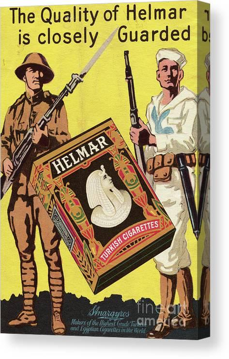 Art Canvas Print featuring the photograph Servicemen Advertising Helmar Cigarettes by Bettmann