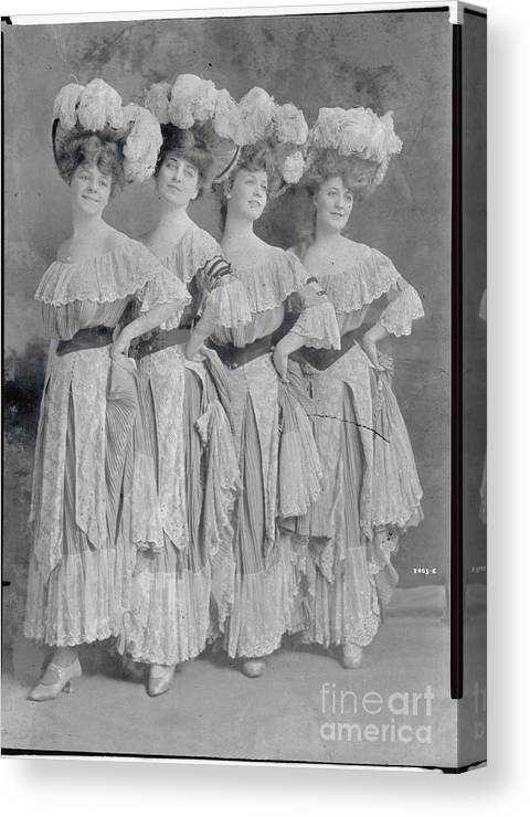 People Canvas Print featuring the photograph Showgirls Wearing Typical Stage Attire by Bettmann