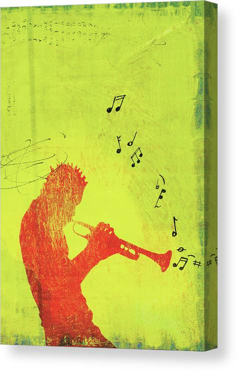 One Man Only Canvas Print featuring the digital art Silhouette Of Trumpet Player by Darren Hopes