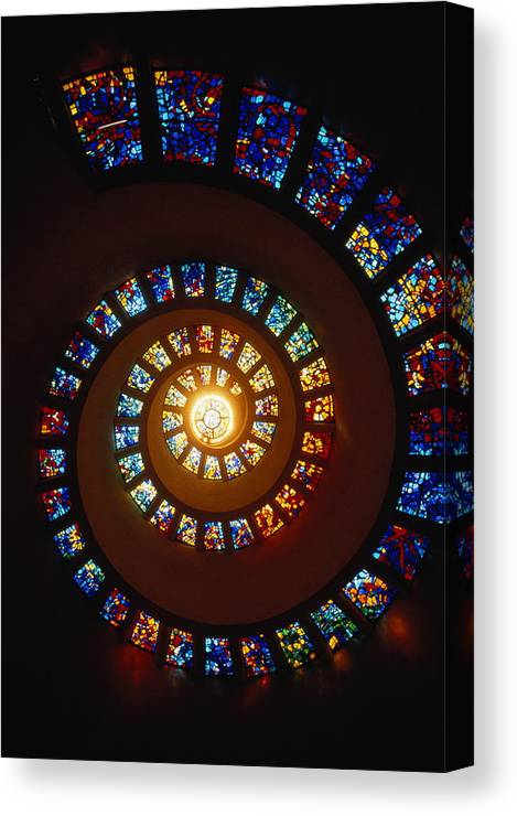 Directly Below Canvas Print featuring the photograph Stained Glass Window, Thanksgiving by John Elk Iii