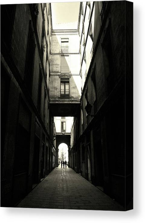 Arch Canvas Print featuring the photograph Street In Barcelona by Maria Fernandez