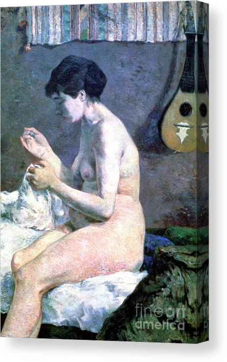 Paul Gauguin Canvas Print featuring the drawing Study Of A Nude, 1880. Artist Paul by Print Collector