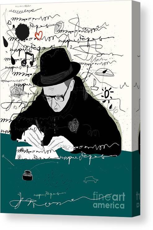 Illustrations Canvas Print featuring the digital art Symbolic Image Of A Man Who Writes A by Dmitriip