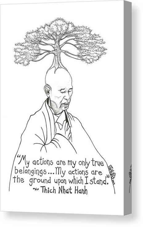 Pen And Ink Illustration Canvas Print featuring the drawing Thich Nhat Hanh Drawing by Rick Frausto