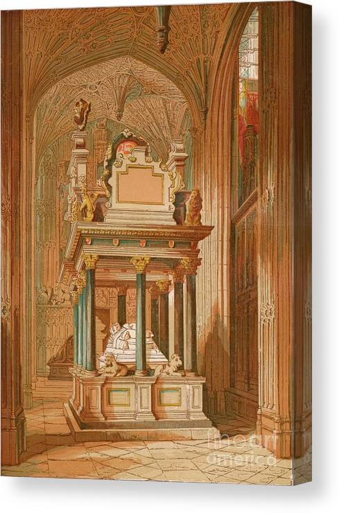 Royalty Canvas Print featuring the drawing Tomb Of Queen Elizabeth. - Westminster by Print Collector