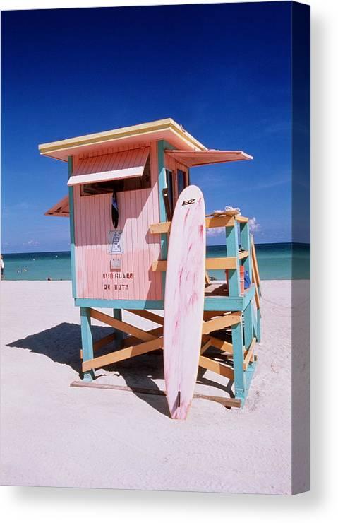City Canvas Print featuring the photograph Usa Florida Miami Beach Lifeguard by Buena Vista Images