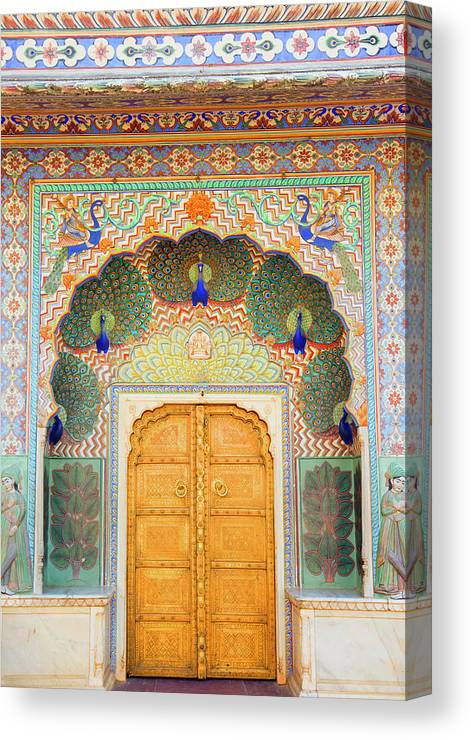 Arch Canvas Print featuring the photograph View Of Peacock Door In Palace by Grant Faint