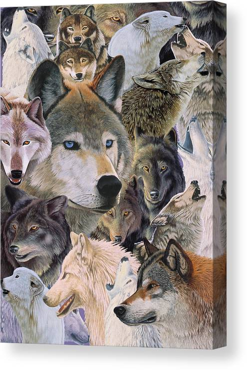 Wolves Alive Canvas Print featuring the painting Wolves Alive by Graeme Stevenson