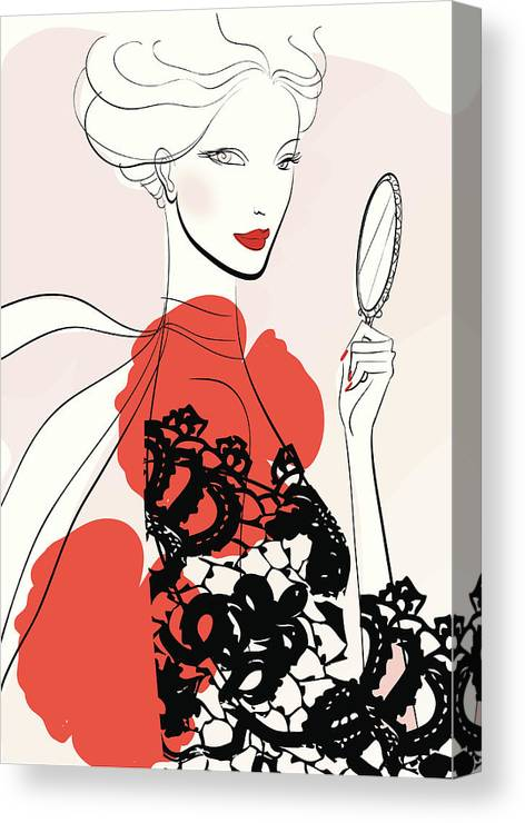 People Canvas Print featuring the digital art Woman Looking In Handheld Mirror by Mcmillan Digital Art