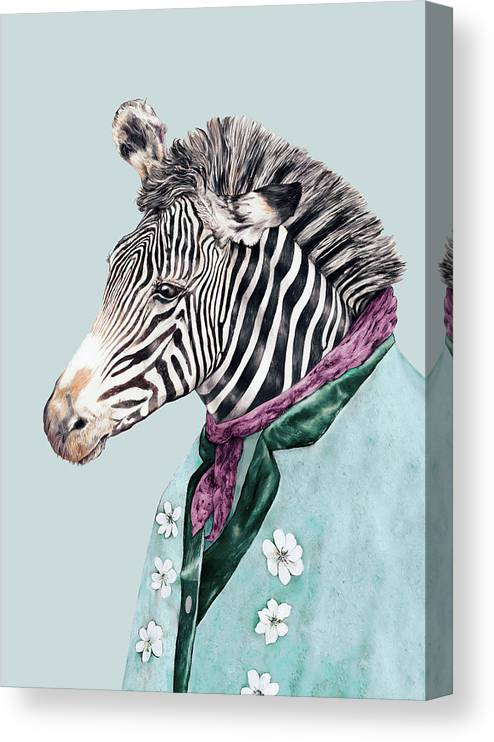 Boho Canvas Print featuring the painting Zebra Blue by Animal Crew