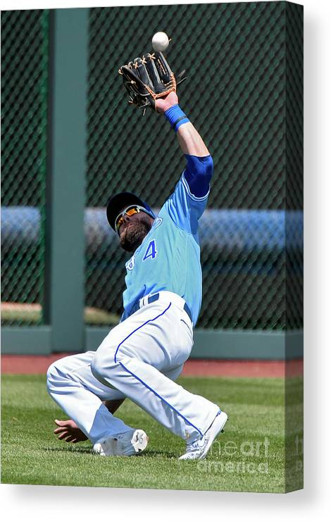 Second Inning Canvas Print featuring the photograph Alex Gordon by Ed Zurga