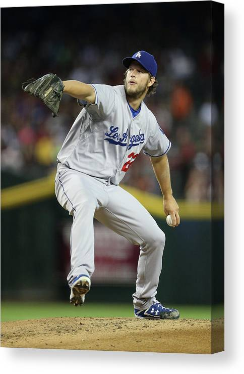 People Canvas Print featuring the photograph Clayton Kershaw by Christian Petersen