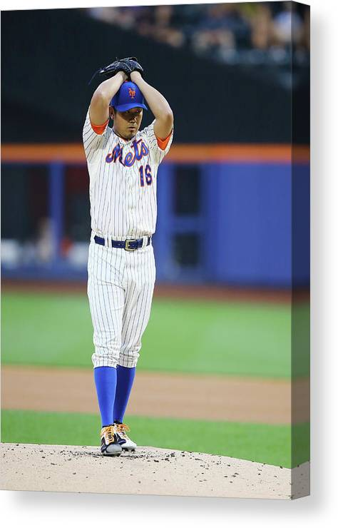 American League Baseball Canvas Print featuring the photograph Daisuke Matsuzaka by Al Bello