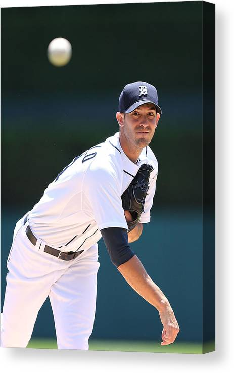 American League Baseball Canvas Print featuring the photograph Rick Porcello by Leon Halip