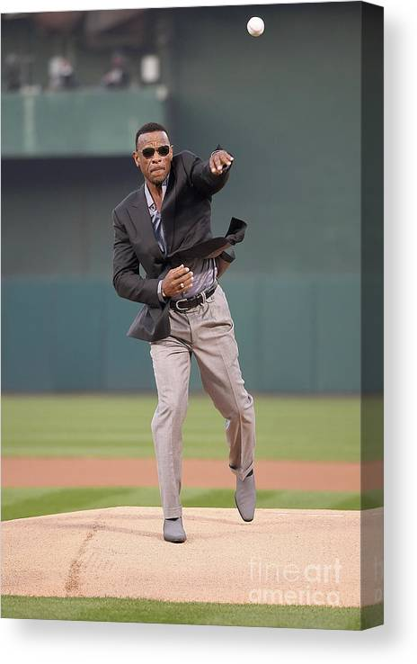 People Canvas Print featuring the photograph Rickey Henderson by Thearon W. Henderson