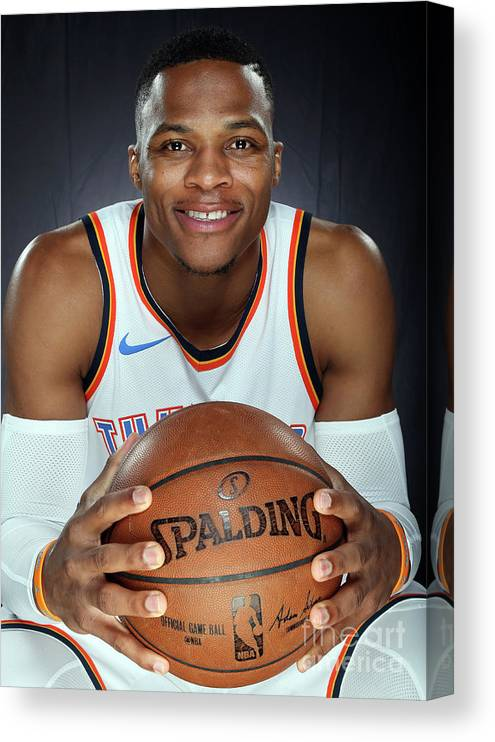 Media Day Canvas Print featuring the photograph Russell Westbrook by Layne Murdoch