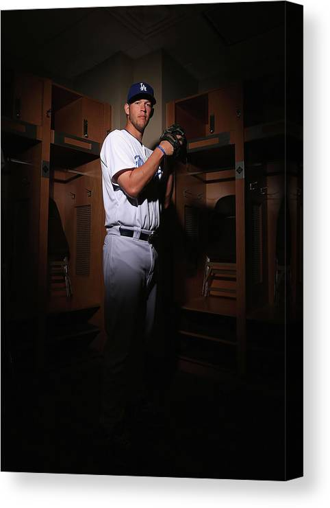 Media Day Canvas Print featuring the photograph Clayton Kershaw by Christian Petersen