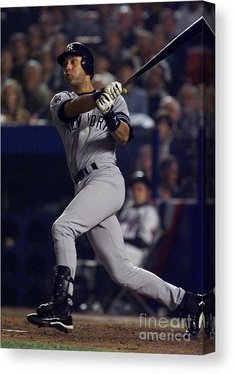 People Canvas Print featuring the photograph Derek Jeter by Jed Jacobsohn