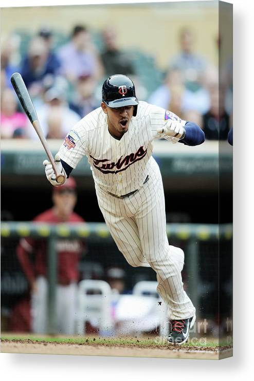 Second Inning Canvas Print featuring the photograph Eduardo Escobar by Hannah Foslien
