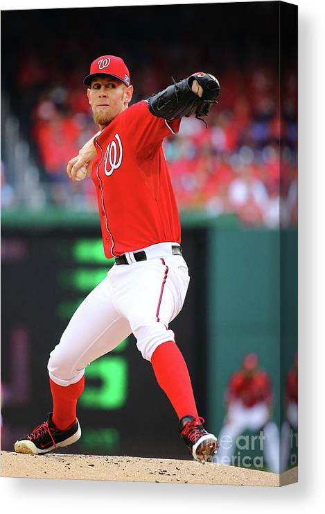 Stephen Strasburg Canvas Print featuring the photograph Stephen Strasburg by Al Bello