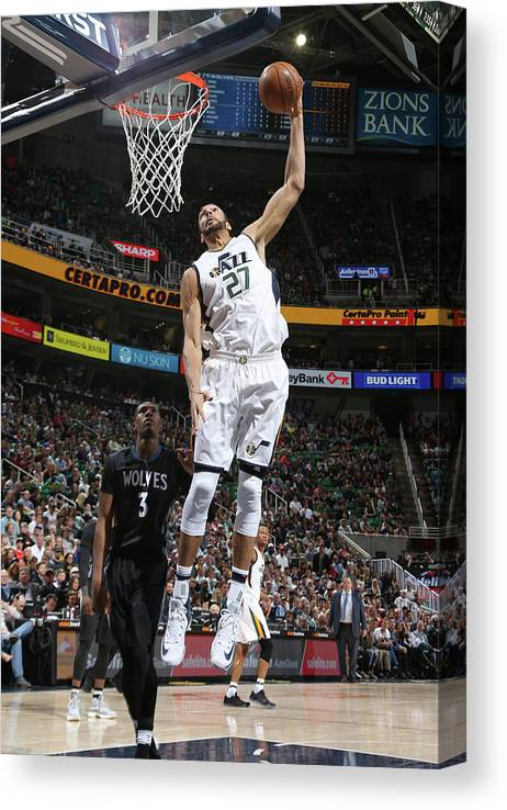 Nba Pro Basketball Canvas Print featuring the photograph Rudy Gobert by Melissa Majchrzak