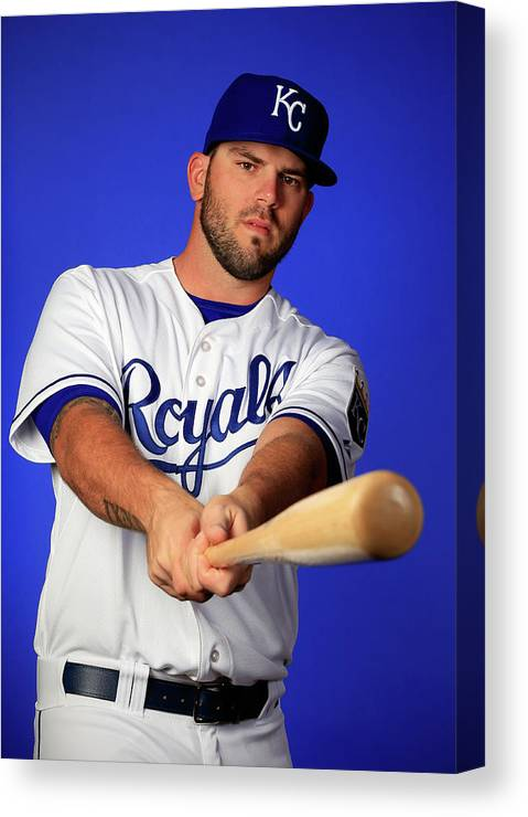 Media Day Canvas Print featuring the photograph Mike Moustakas by Jamie Squire