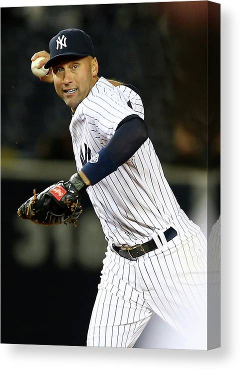 Game Two Canvas Print featuring the photograph Derek Jeter by Elsa