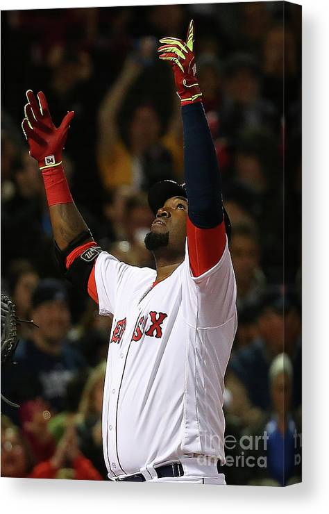 Three Quarter Length Canvas Print featuring the photograph David Ortiz by Jim Rogash