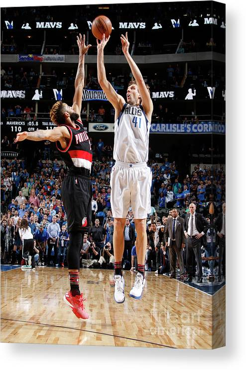 Nba Pro Basketball Canvas Print featuring the photograph Dirk Nowitzki by Danny Bollinger