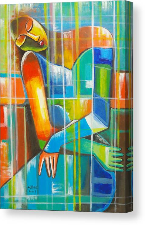 Orange Canvas Print featuring the painting Abstract Motherhood by Olaoluwa Smith