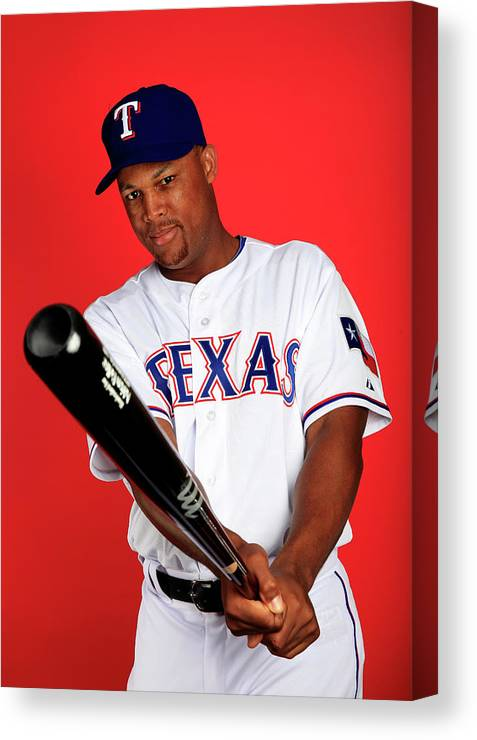 Media Day Canvas Print featuring the photograph Adrian Beltre by Jamie Squire
