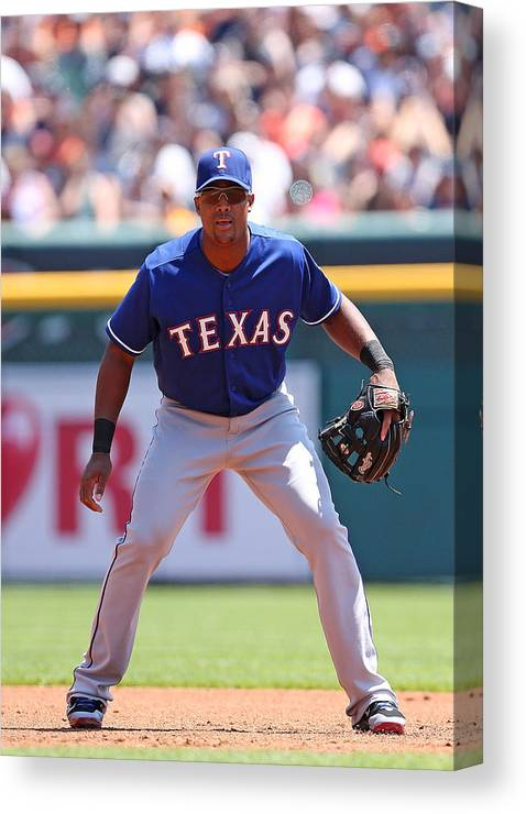 Adrian Beltre Canvas Print featuring the photograph Adrian Beltre by Leon Halip