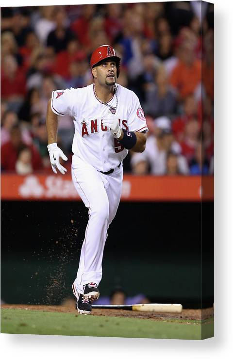 American League Baseball Canvas Print featuring the photograph Albert Pujols by Jeff Gross