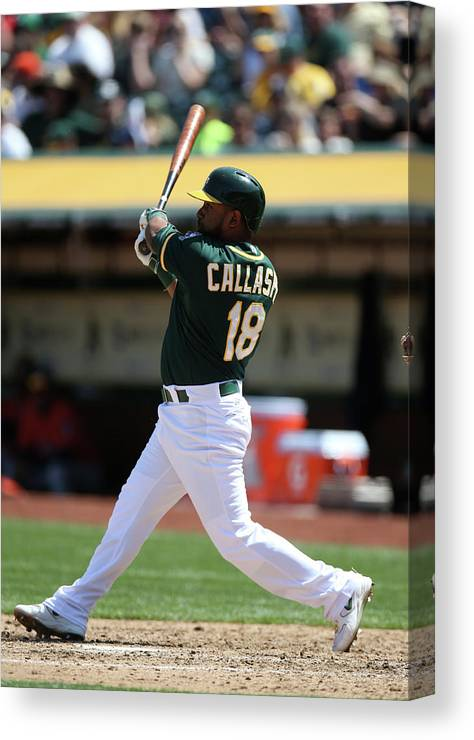 American League Baseball Canvas Print featuring the photograph Alberto Callaspo by Brad Mangin