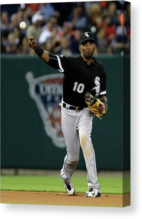 People Canvas Print featuring the photograph Alexei Ramirez and Ian Kinsler by Duane Burleson