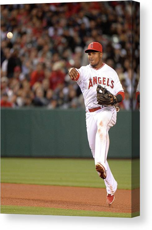 Alfonso Soriano Canvas Print featuring the photograph Alfonso Soriano And Erick Aybar by Harry How