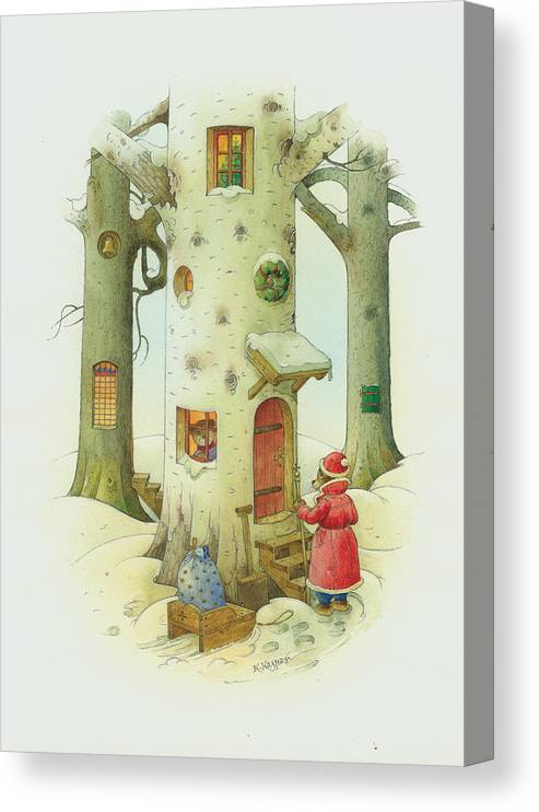Christmas Canvas Print featuring the painting Bears Christmas by Kestutis Kasparavicius