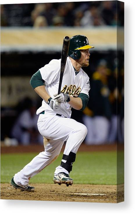 American League Baseball Canvas Print featuring the photograph Brandon Moss and Josh Donaldson by Thearon W. Henderson
