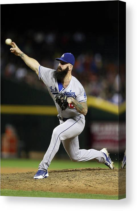 Relief Pitcher Canvas Print featuring the photograph Brian Wilson by Christian Petersen