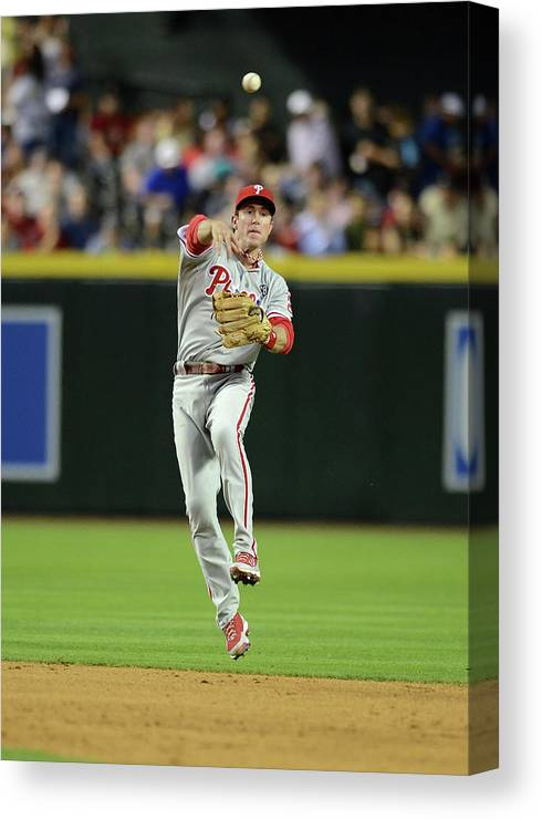 American League Baseball Canvas Print featuring the photograph Chase Utley by Norm Hall