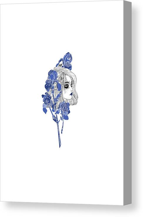 Digital Art Canvas Print featuring the digital art China girl by Elly Provolo