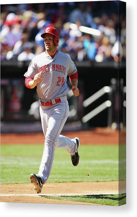 American League Baseball Canvas Print featuring the photograph Chris Heisey by Al Bello