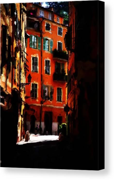 Cinque Terre Canvas Print featuring the mixed media Cinque Terre by Asbjorn Lonvig
