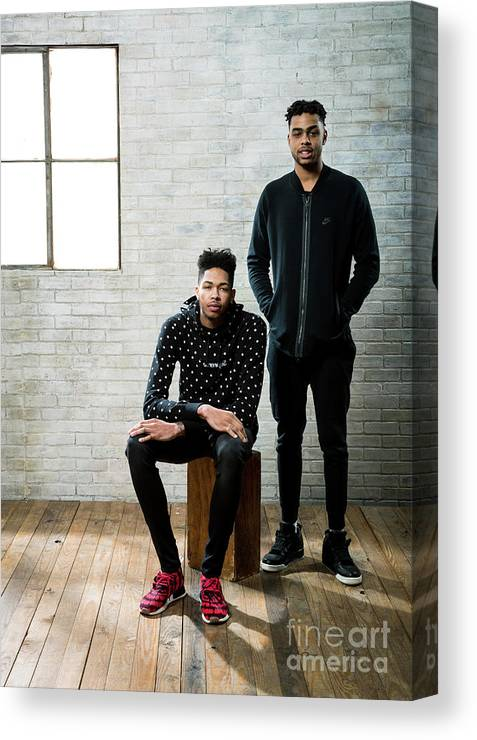 Nba Pro Basketball Canvas Print featuring the photograph D'angelo Russell and Brandon Ingram by Nathaniel S. Butler