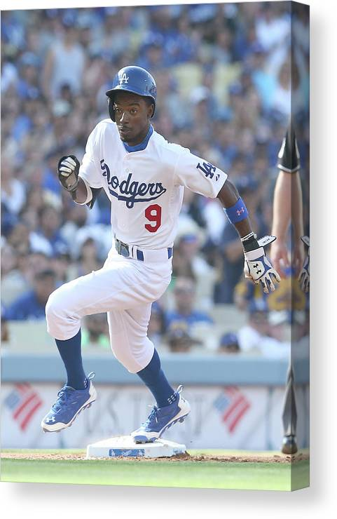 Second Inning Canvas Print featuring the photograph Dee Gordon by Stephen Dunn