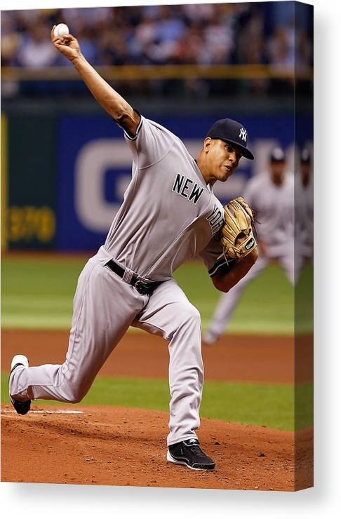 American League Baseball Canvas Print featuring the photograph Dellin Betances by J. Meric