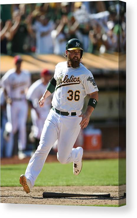 American League Baseball Canvas Print featuring the photograph Derek Norris by Thearon W. Henderson