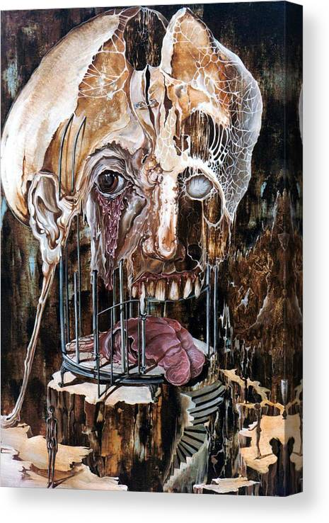 Surrealism Canvas Print featuring the painting Deterioration Of Mind Over Matter by Otto Rapp
